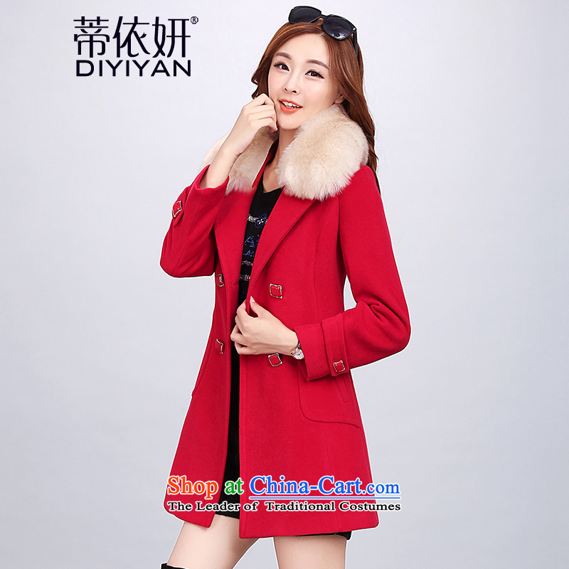 In accordance with Charlene Choi gross is Alfonso coats female 2015 autumn and winter new long-sleeved a wool coat girl in long hair red jacket is     _thick_ XL