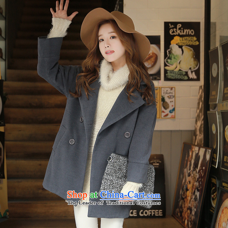 Korean figure聽2015 winter new Korean loose video in thin long long-sleeved jacket is pure color gross girls a wool coat female Gray聽L