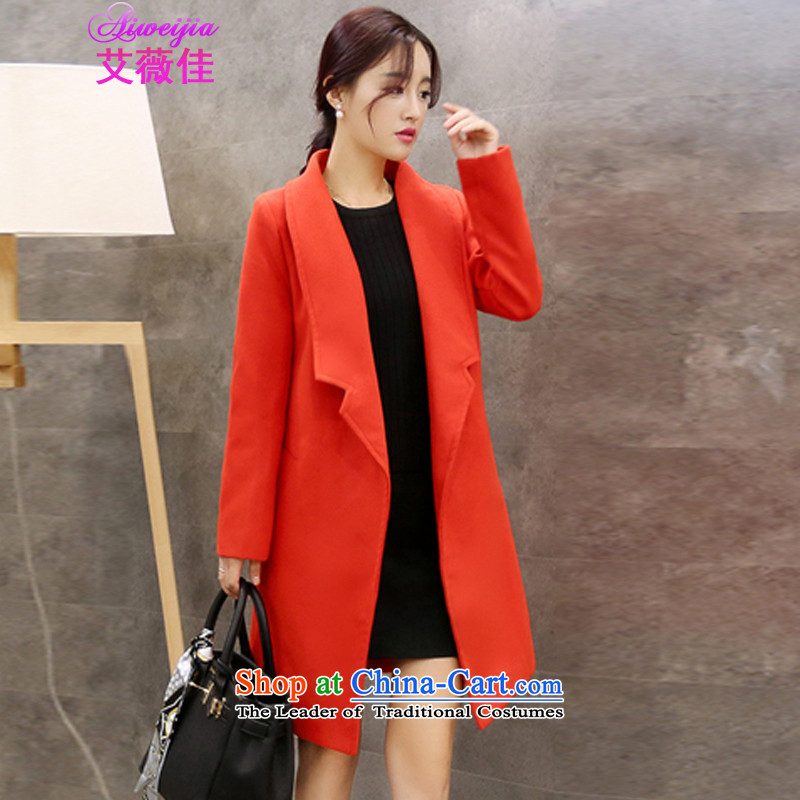 Ms Audrey Eu better gross HIV? 2015 autumn and winter coats female new expertise in large relaxd mm long hair? jacket 208 RED燤