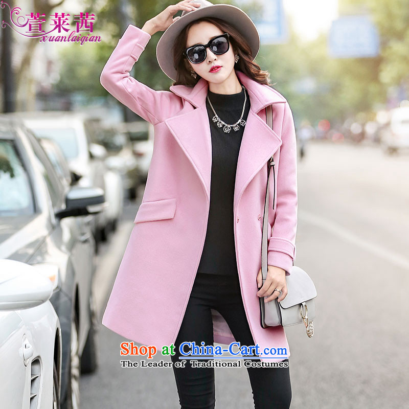 Xuan, Mrs Ure�15 autumn and winter new long-sleeved jacket is     in the gross long lapel?-coats children pink燲XL