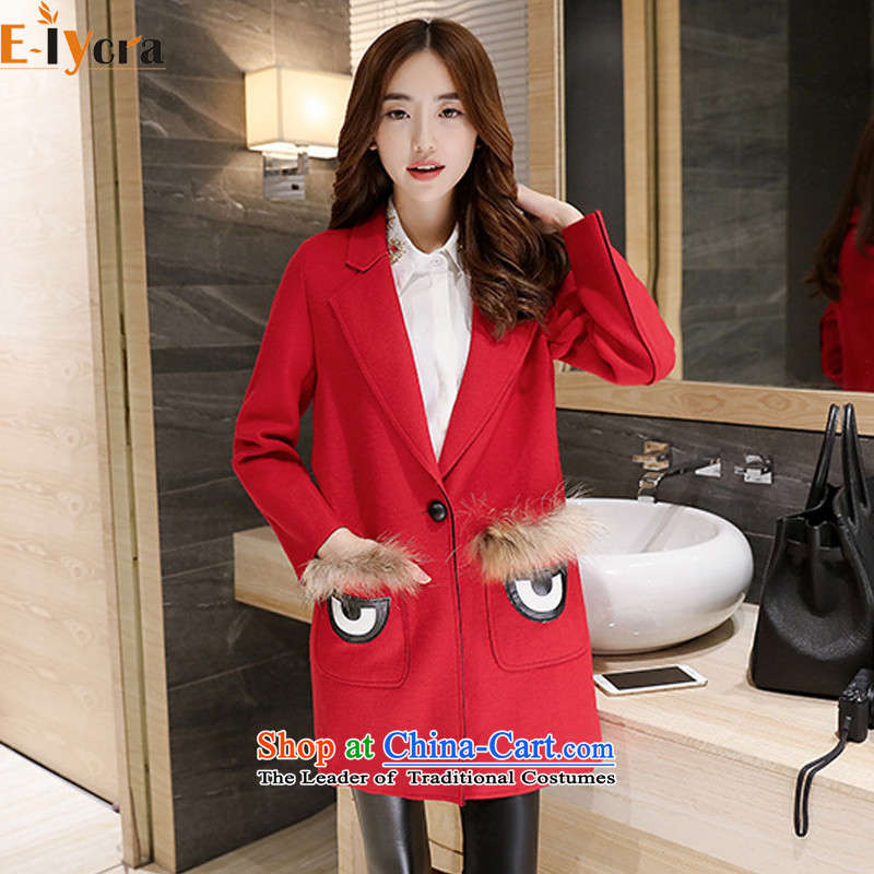 2015 Autumn and winter new e-lycra stylish bag in the medium to long term, Maomao a wool coat female red jacket燣