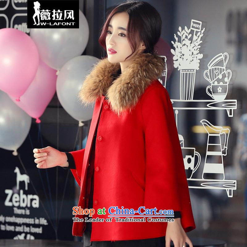 Vera wind 2015 autumn and winter coats? female hair stylish Korean short, sweet thick red cloak? a cloak gross woolen coat jackets female RED燤