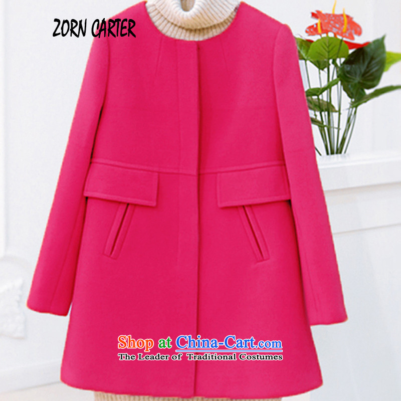 Zorn carter2015 autumn and winter to increase women's code in liberal sister thick long thin hair? jacket graphics in red燲XXXXL 1155