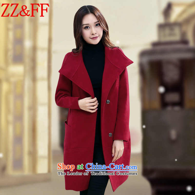 2015 Autumn and winter Zz&ff new Korean version in the Sau San long loose larger gross? jacket a wool coat femaleWT5360XXXL wine red