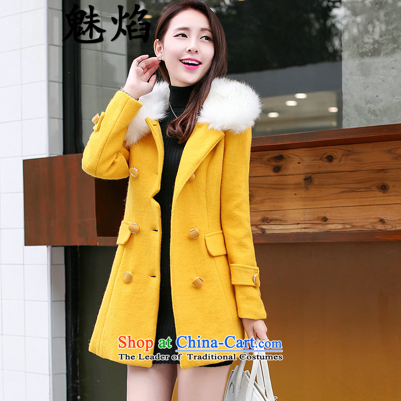 Flame of New Korea 2015 winter version of large numbers of women who are graphics thin a wool coat in the double-long hair? Jacket Yellow燲L