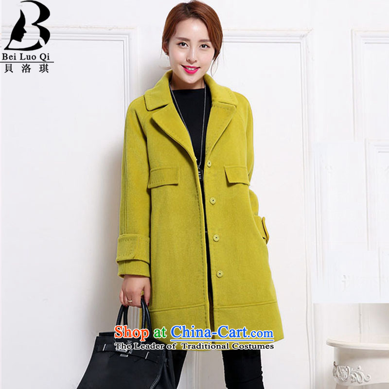 Belot Qi wool coat girl in the winter so long Embroidery Stamp double-jacket female Korea gross? Edition yellow color燤