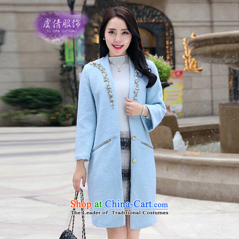 Yu Chien YQ 2015 autumn and winter nail pearl diamond V-neck in long aristocratic wool temperament elegant jacket Y322 gross? thick blue聽M