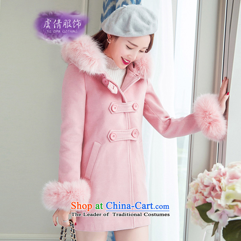 Yu Chien YQ 2015 Korean Fox for small wind-Gross Gross girls jacket?   thick hair long coats Y323? pink?M