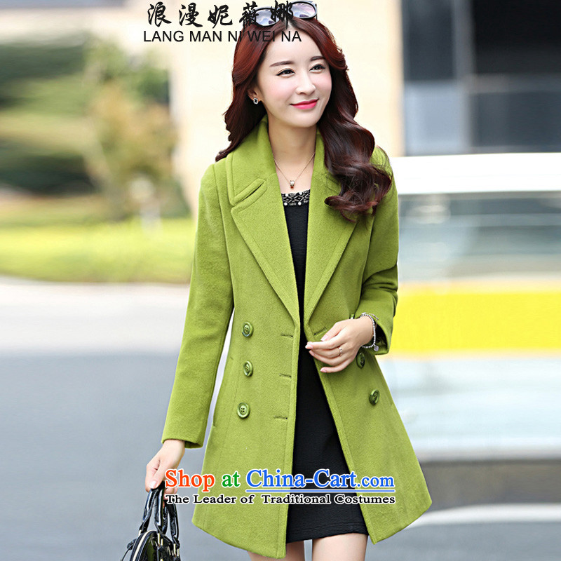 Ms Audrey EU's?2015 romantic Connie European site Korean New larger lapel autumn and winter coats girl in gross? Long temperament a wool coat jacket green?L