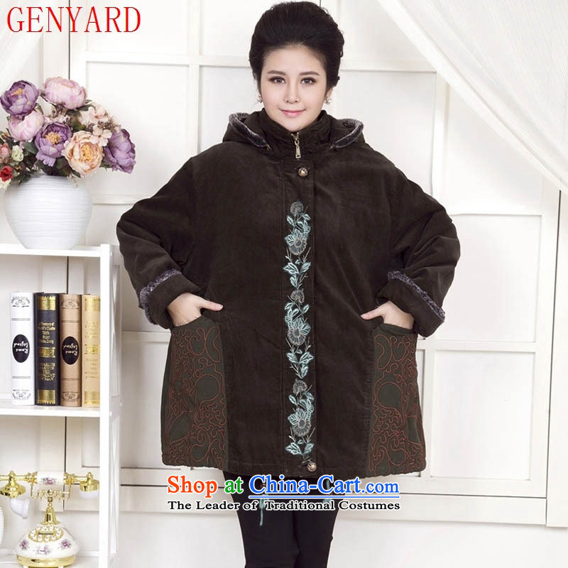 Deloitte Touche Tohmatsu trade shop 2015 autumn and winter new 200 catties to xl jacket for older women Fall/Winter Collections cotton coat middle-aged hoodie warm coat28335250 more than the burden of green 5XL thick mother can penetrate