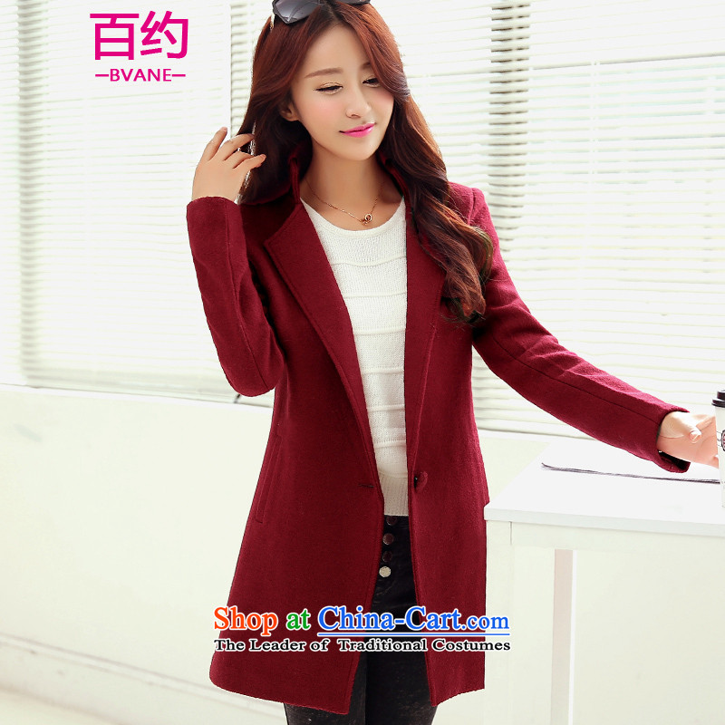 The new 2015 BVANE Fall_Winter Collections Korean fashion lapel video thin coat female OL temperament, wine red cloak gross? L