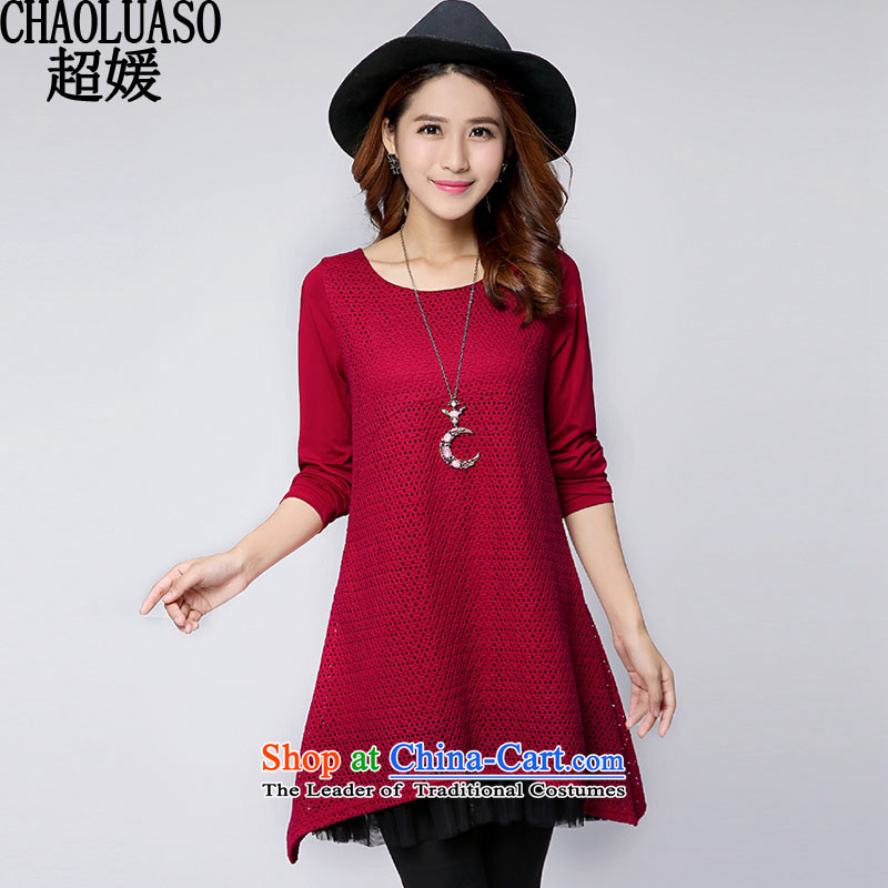 Ultra-yuan autumn and winter load new Korean version of large numbers of ladies to intensify the thick mm long-sleeved relaxd dress short skirts, forming the video thin CY278 red XXL