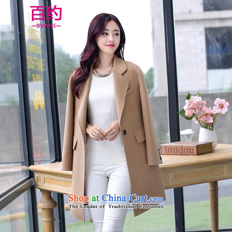 The new 2015 BVANE winter clothing Korean fashion lapel coats, wool? Long wild jacket khaki燣
