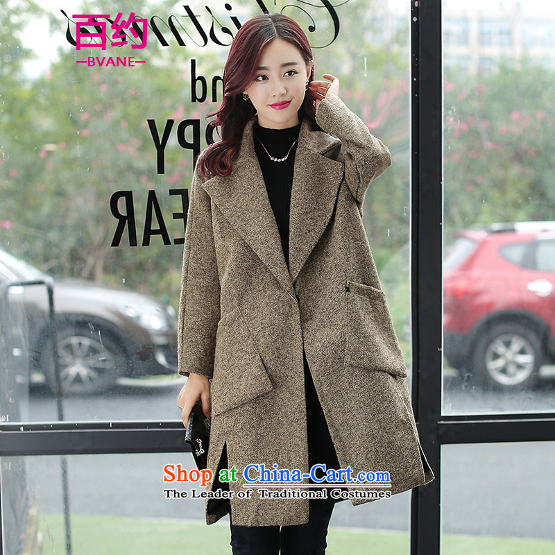 The new 2015 BVANE winter clothing Korean solid color jacket relaxd wild temperament lapel gross and color coats female?燤