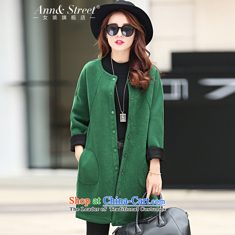 Anne Road�15 new Korean style of autumn and winter round-neck collar pure color is long single row of coats jacket women? green燣