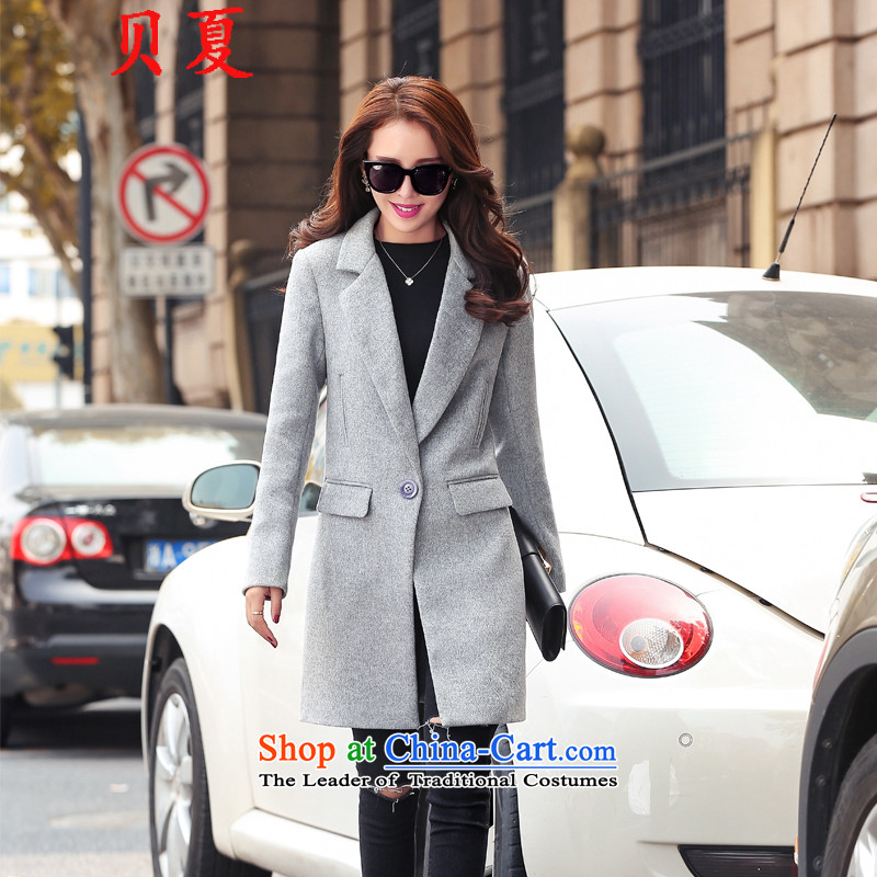Summer 2015 Addis Ababa autumn and winter new Korean fashion Sau San woolen coat female non-cashmere overcoat Gross Gross Jacket coat it? In Long Light Gray燤