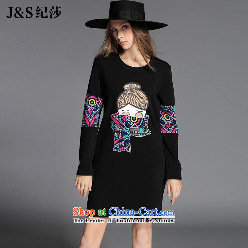 The new 2015 Elizabeth discipline Western New larger female winter thick sister plus lint-free long-sleeved thickened the skirt Fashion cartoon stamp forming the skirtZR2151- black2XL