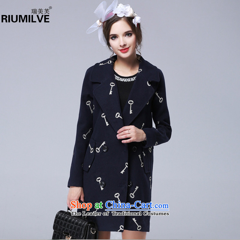 Rui Mei tolarge 2015 Fall/Winter Collections for women to new xl loose in the long hair? jacket coat embroidered N13313XL Dark Blue