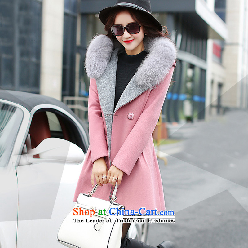 Yi Jin Mao collar, cap a wool coat pink 5046 M
