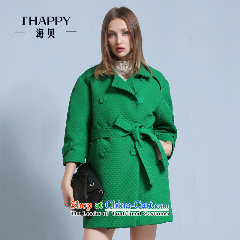 Seashell�  2015 Winter Balangjie-double-pure color lapel waistband? And Tess green coats燲L