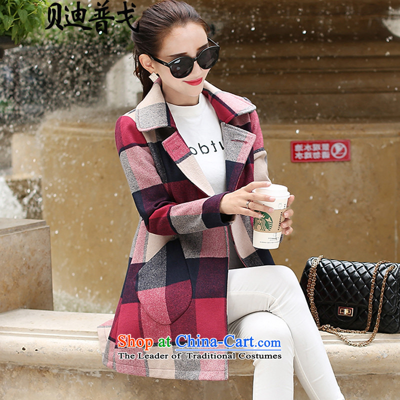 Brady pugo winter clothing new larger female red grille Connie sub-jacket thick MM Gross? Long grid butted _2417 3XL hung around 922.747 150 - 160131
