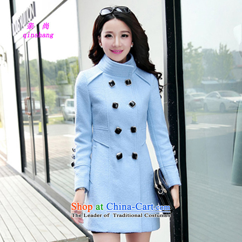 Chikanari�15 Fall_Winter Collections of female new temperament gross coats Korea version? Thin collar double row is long, large blue jacket? gross燣