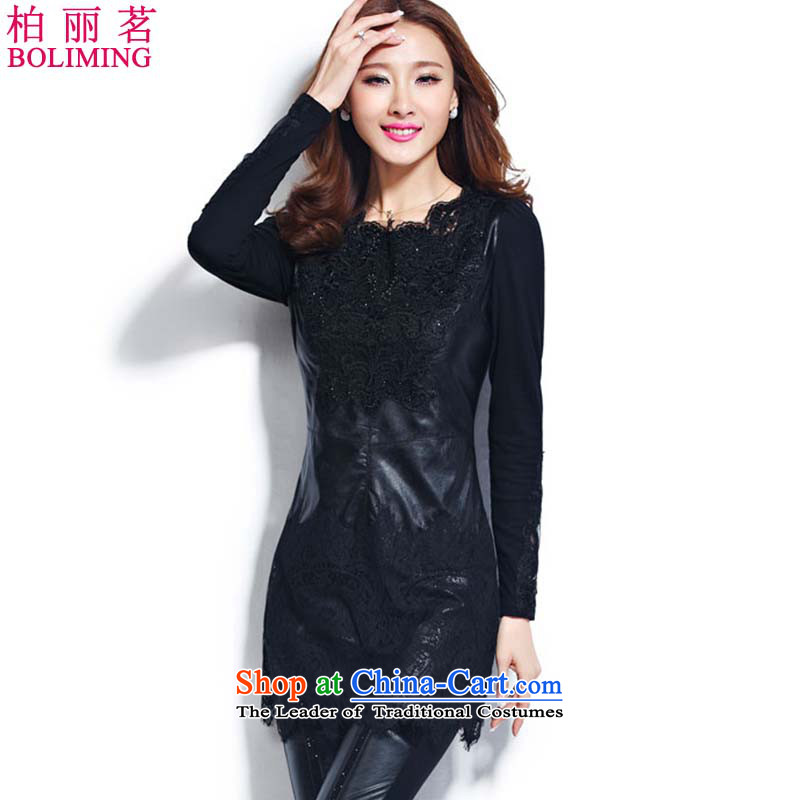 Park Myung 2015 autumn and winter for women in long lace forming the Netherlands stitching PU plus large forming the thick wool sweater women 9071 Black XXXXL