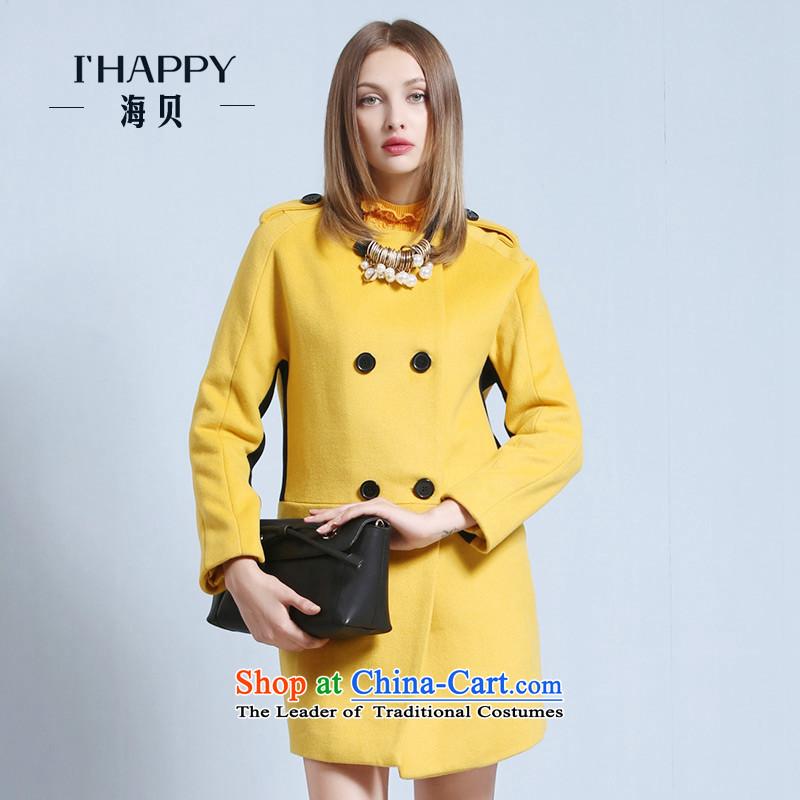 Seashell� 2015 winter reverse collar double double-bag pure color leisure long jacket coat_? apricot燤