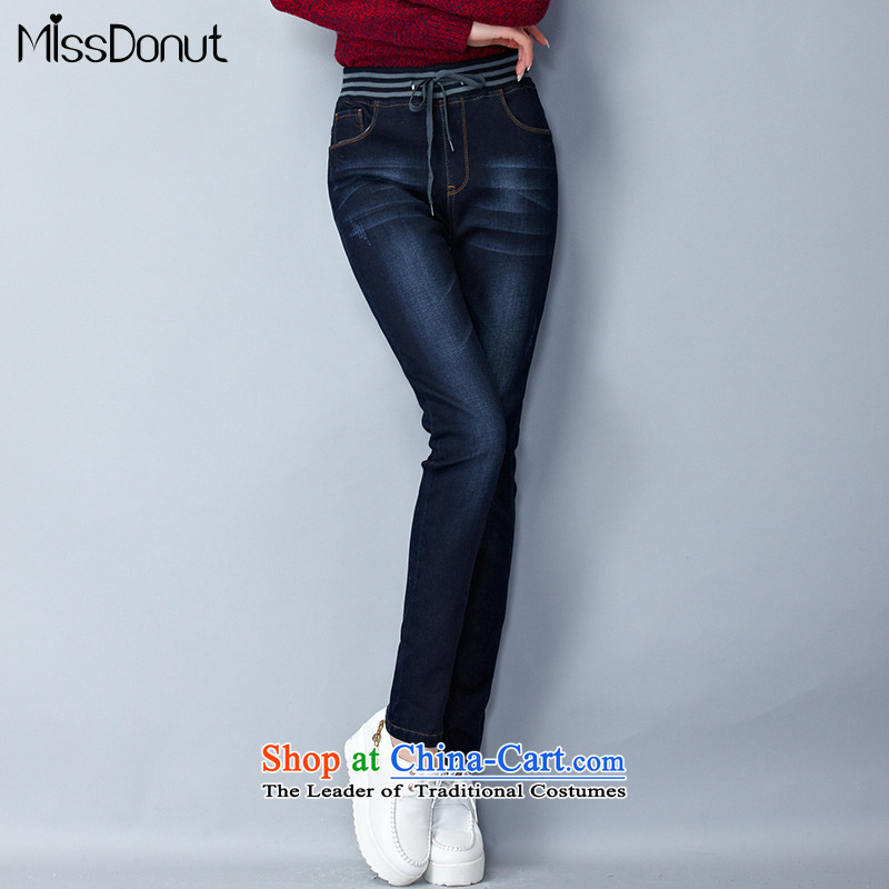 To increase the number missdonut female jeans warm thick mm Korean graphics plus thin-Sau San Thick coated trousers leisure Winter Female dark blue trousers larger 5XL