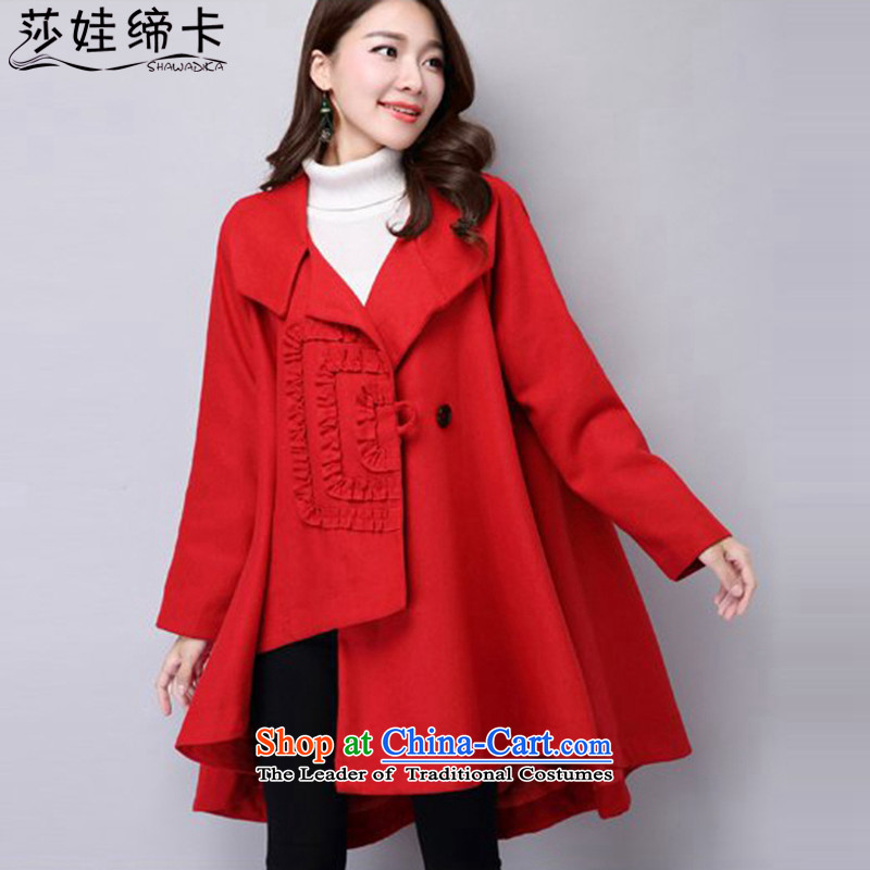 Elisabeth wa concluded large card windbreaker women 200 catties larger female autumn extra thick people jacket female graphics, increase to thin spring and autumn female cloak loose coat big red version 160 to 200 catties XL