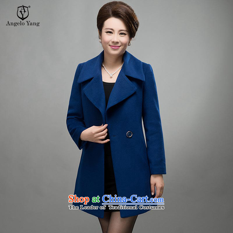 On its large speaker women 2015 autumn and winter coats new cashmere women long Korean mother coat with gross? woolen coat female_ to intensify the blue XXXL