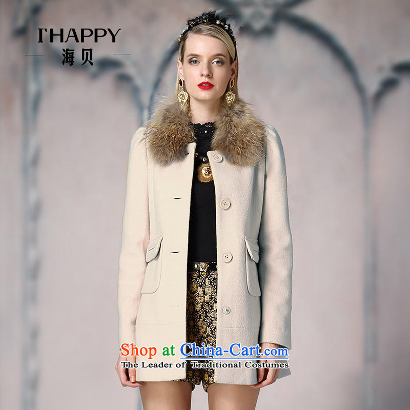 Seashell  2015 Winter can be removed from the normal child gross single row pocket clip long coats jacket rice white M