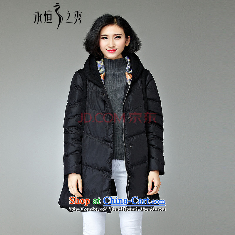 2015 MM to thick cotton clothing xl girl in autumn and winter jackets long new monochrome wave point high-end stylish black cotton atmospheric燲L