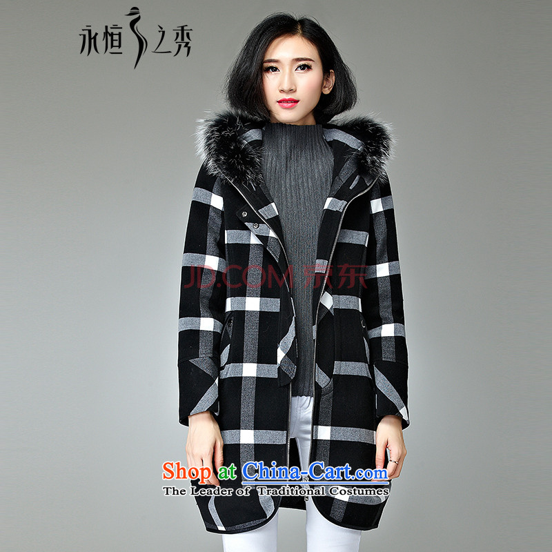 2015 MM to thick xl jacket in autumn and winter long new 200 catties thick children with black and white sister3XL Grid
