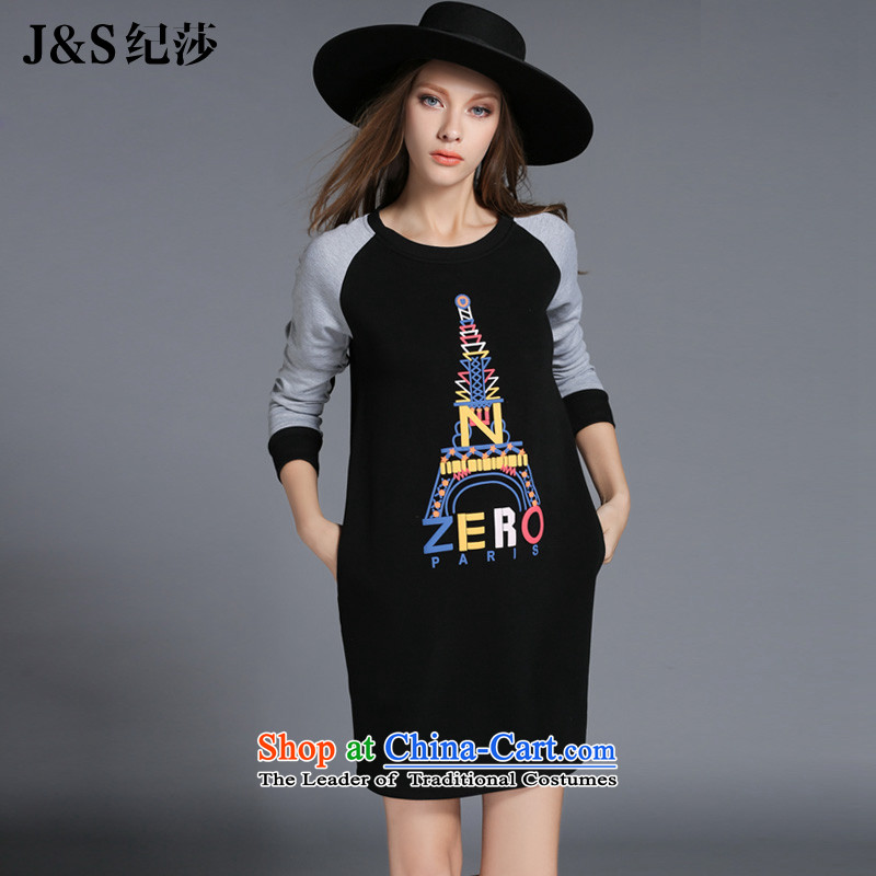 The new 2015 Elizabeth discipline western style large female winter clothing to increase long-sleeved skirt Fashion letters stamp thick wool thick sister, forming the basis of the establishment of a?black?XL ZR2130-