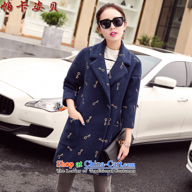 Pacar Gigi Lai Addis Ababa of autumn and winter 2015 new Korean version 7 to the cuff is thick-coats that long wool coat female navy? explosions, L