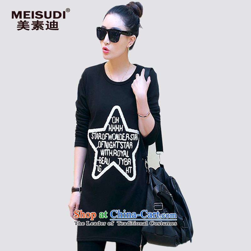 2015 Autumn and Winter Korea MEISUDI version of large numbers of women in the long wild video thin plus lint-free thick warm long-sleeved shirt stamp forming the letters t-shirt black燲XL