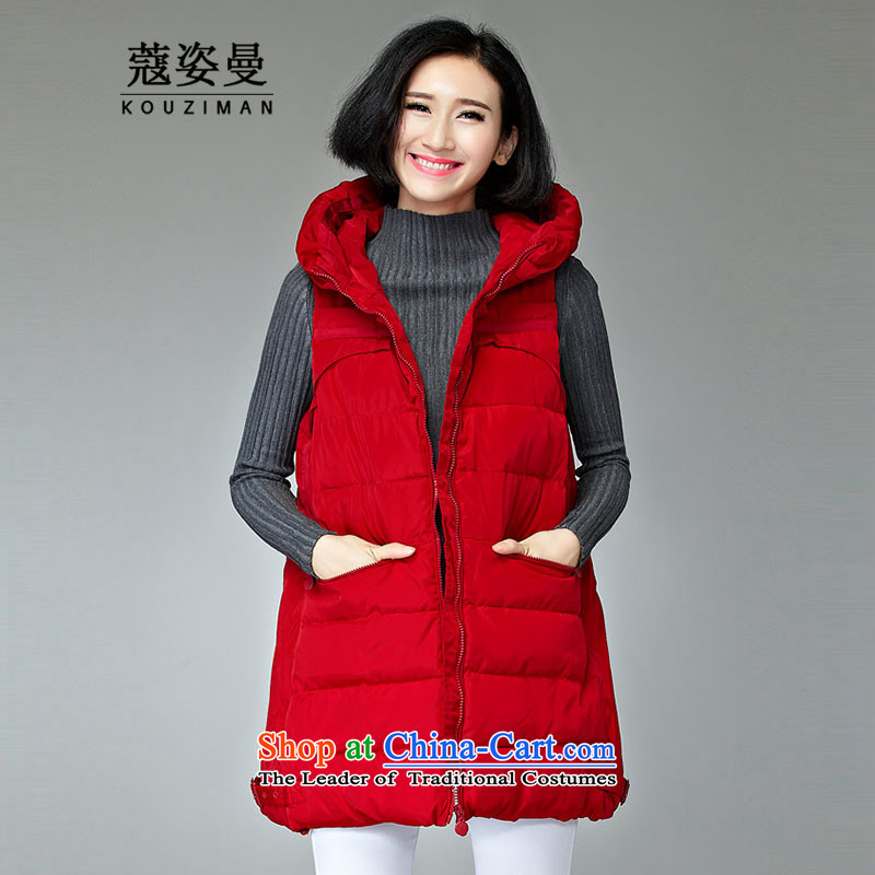 Gigi Lai Man to indulge in female jackets 2015 winter larger cotton coat virgin folder in mm long, thick with Cap 200 catties thin graphics thick cotton waffle vest sister�L150-170 chestnut horses