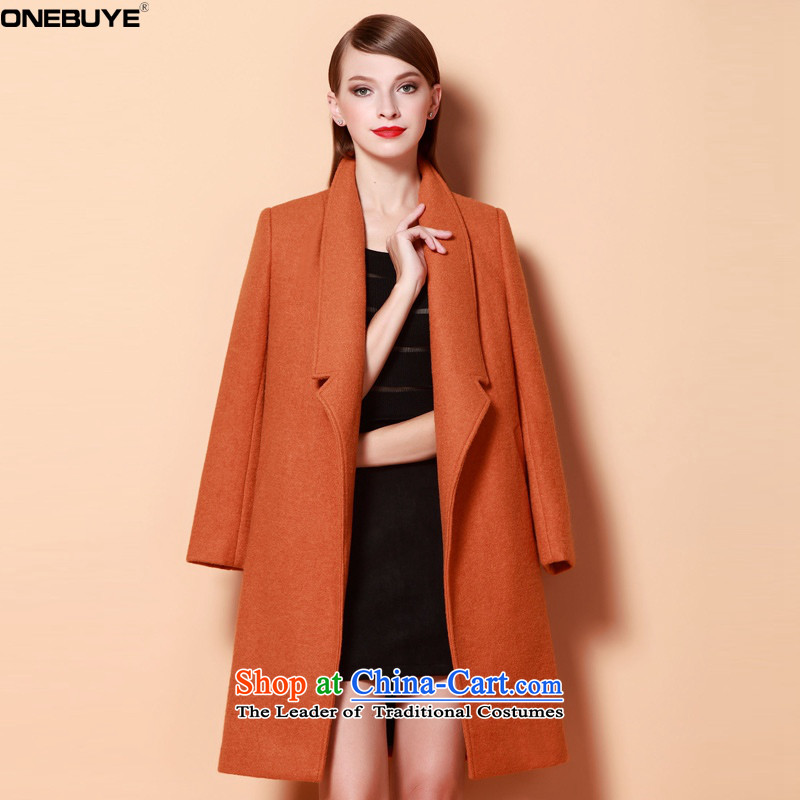 燛urope and the atmosphere of solid color ONEBUYE large wild stylish reverse collar on chancing long long-sleeved a wool coat female orange燤