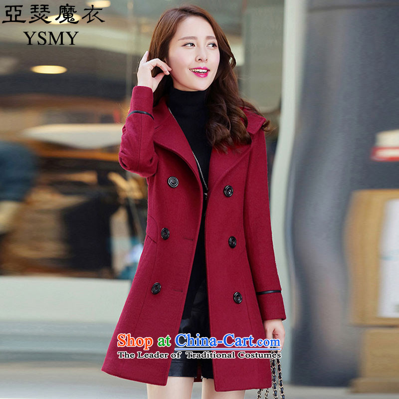 Arthur magic yi2015 Fall/Winter Collections new coats of ladies hair? Korean fashion in the Sau San long large double-a jacket girls gross wine redXXXL