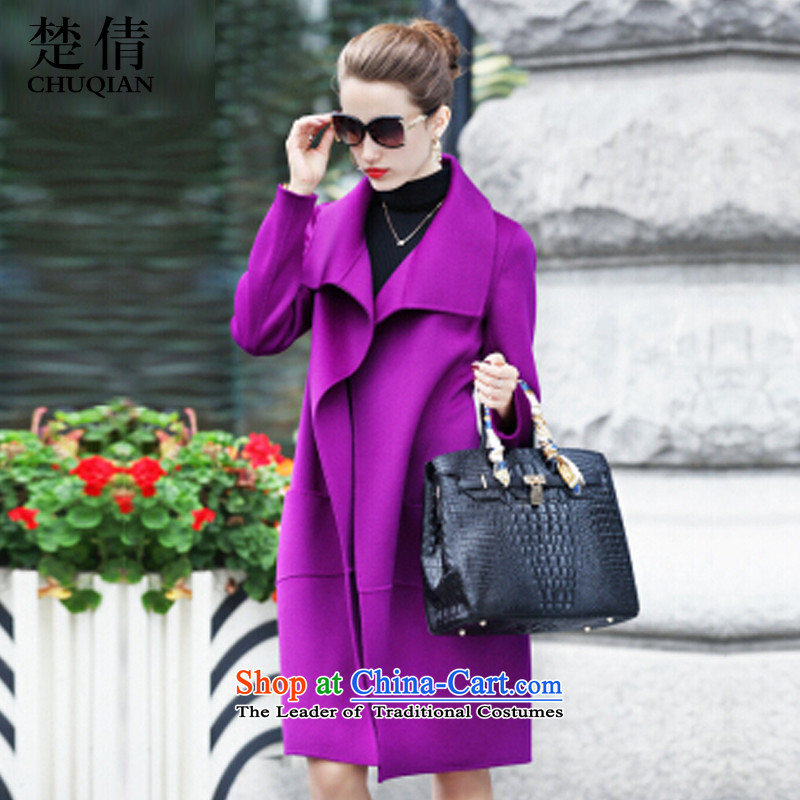 Chor Yuen Chien?  autumn 2015 new Korean fashion Sau San long wool coat violet?XXL?