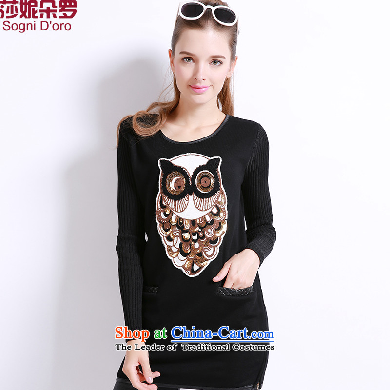 The latte macchiato, Shani to increase women's code thick winter clothing plus lint-free sister thick warm sweater thick mm long tee shirt 13274 Black 4XL- pre-sale within 3 days of the Shipment