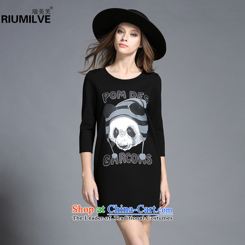Rui Mei to large 2015 Fall/Winter Collections for women to new xl animals stamp forming the long-sleeved dresses C7256 3XL black