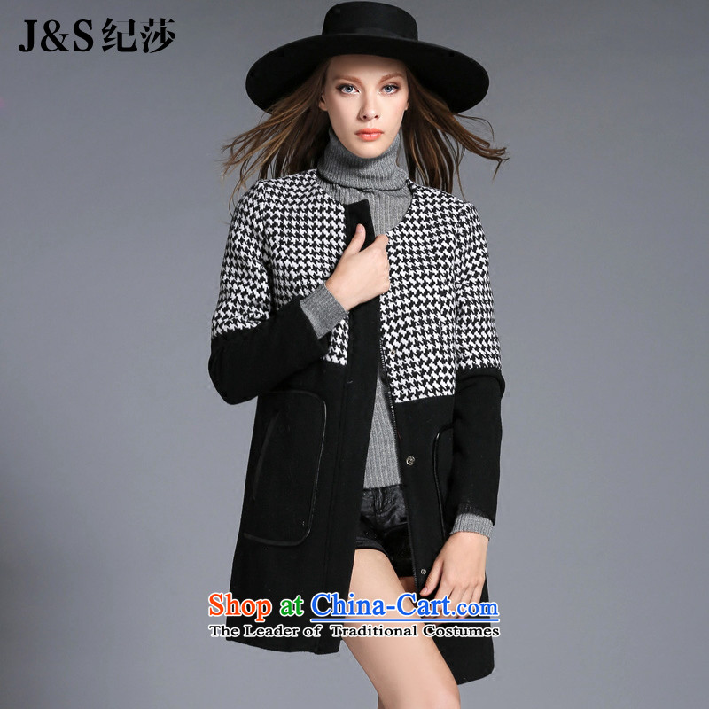 The new 2015 Elizabeth discipline western style thick large sister women Fall_Winter Collections gross jacket chidori grid? thick mm a wool coat ZR2158- black 4XL