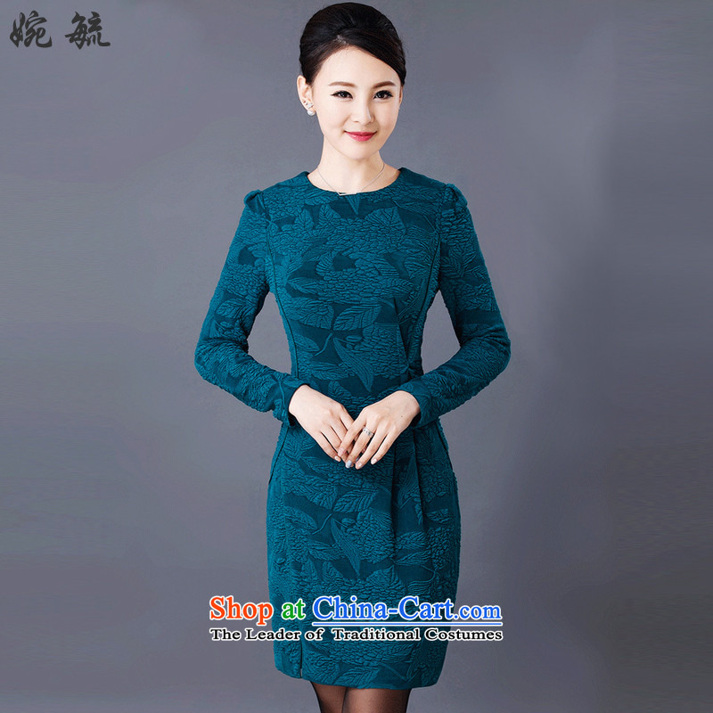 Yuen Yuk 2015 autumn and winter new women's round-neck collar temperament stamp large Sau San long-sleeved dresses W8241 3XL Peacock Blue