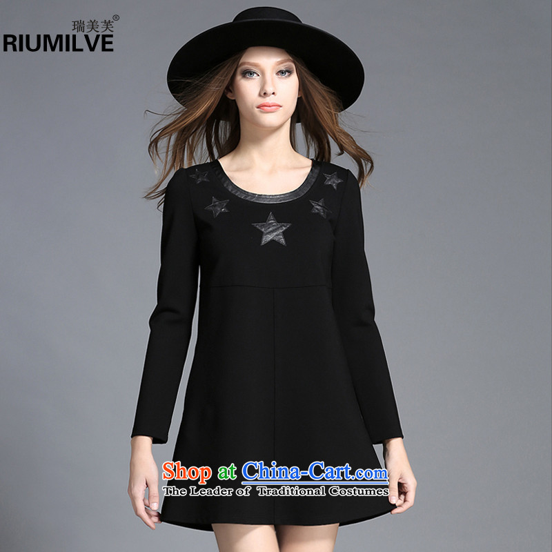Rui Mei to聽large 2015 Fall_Winter Collections for women to new xl relaxd casual gross? collage leather dresses C7253 long-sleeved black聽4XL