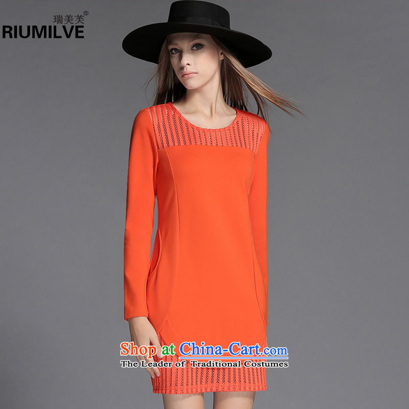 Rui Mei to爈arge 2015 Fall_Winter Collections for women to new xl gauze stitching long-sleeved Sau San dresses C7252�L orange