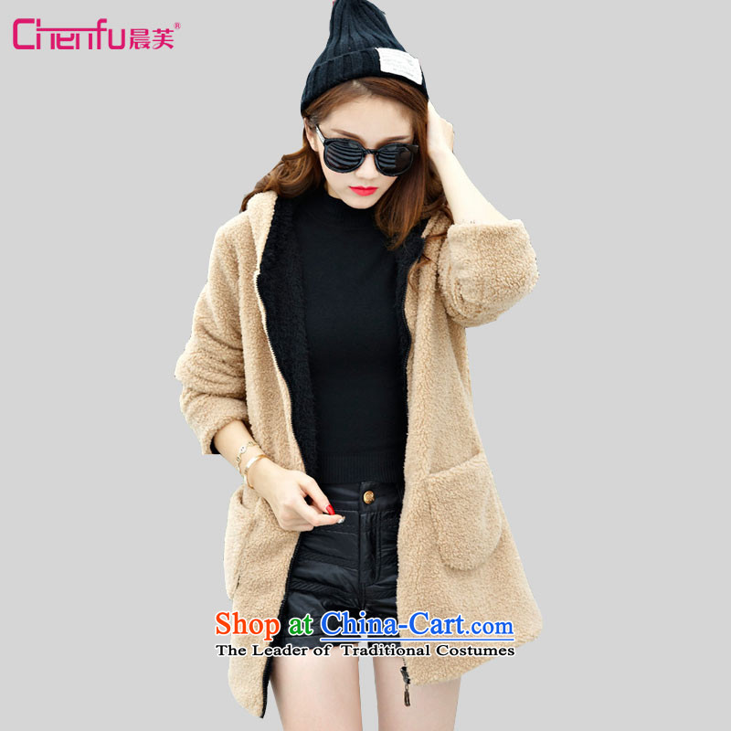 Morning to 2015 autumn and winter new larger female overcoat Sau San with cap load lint-free both positive and negative wearing thick wool? warm jacket color photo of fireworks- XL recommendations paras. 125-140 catty