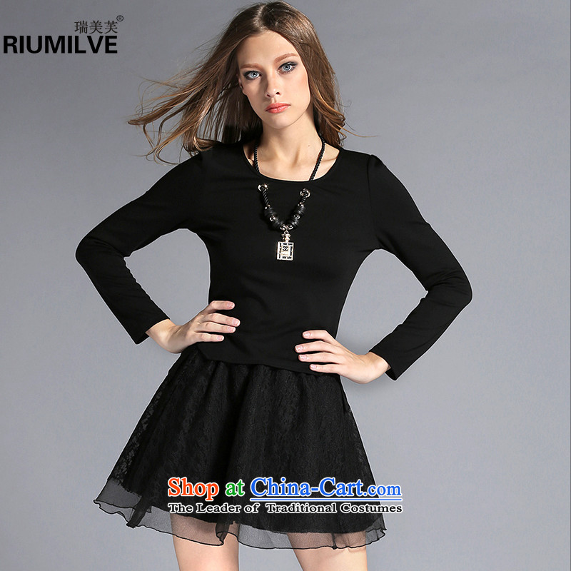 Rui Mei to聽large 2015 Fall_Winter Collections for women to new xl decorated long-sleeved shirt Kit + bon bon short skirt two kits C7251聽3XL black