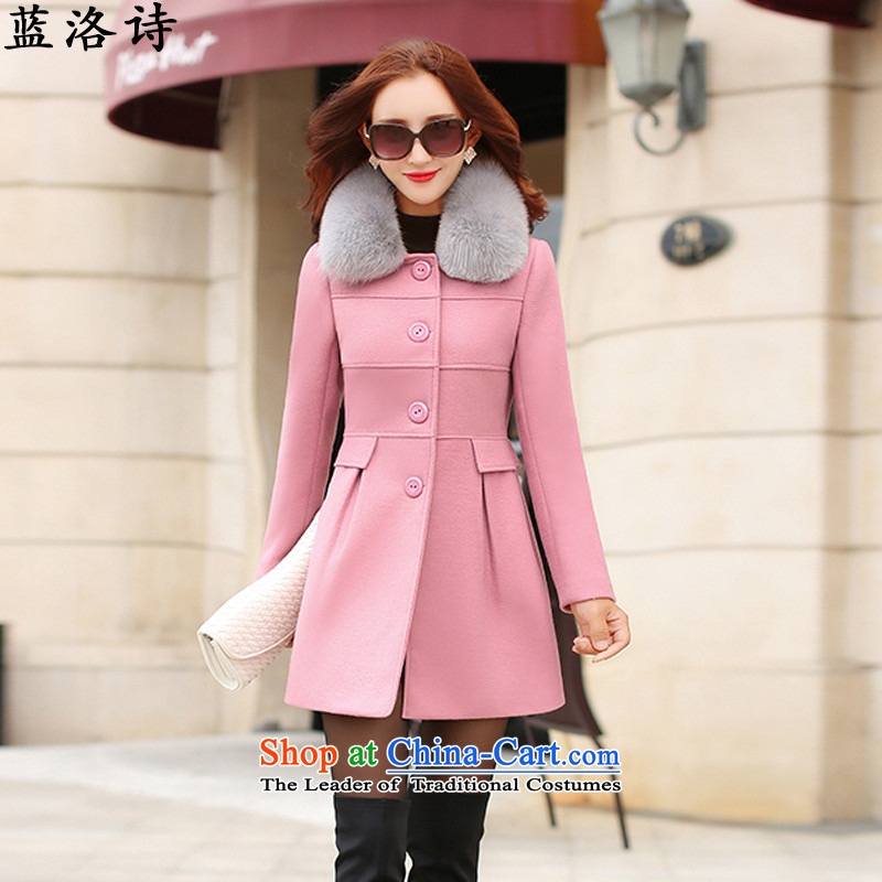 Blue4 poetry 2015 autumn and winter female Korean version of Sau San graphics and slender? coats pink L
